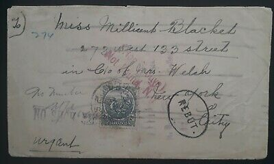 "VERY RARE 1922 Barbados Cover ties 2d stamp to USA ""Returned"" & Not Found"