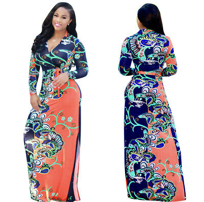 WOMENS PLUS SIZE Dashiki Traditional Graffiti African Ball Gown Maxi ...