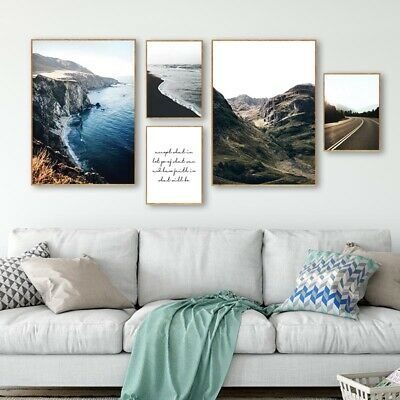 Mountain Road Wall Art Canvas Poster Nordic Landscape Print Living Room Decor