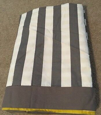 The Land of Nod Crib Skirt CR YE Peep Dust Ruffle Gray Mustard Stripe Reversible