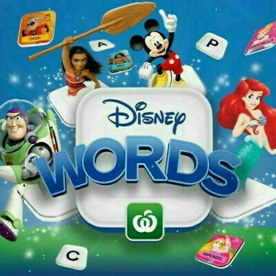 25 x Woolworths Disney Words Tiles .. ALL NEW .. SEALED .. UNOPENED .. 25 Packs