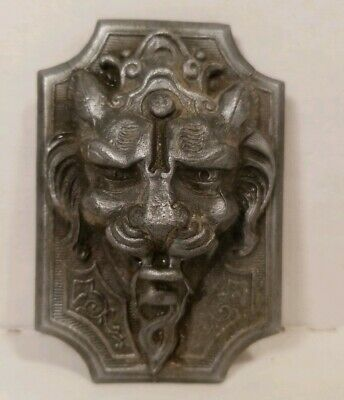 Ornate Lion Head On Plaque Silver Cast Iron Small Door Knocker Drawer Pull Rare!