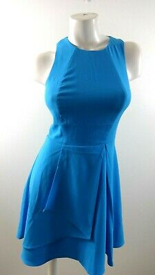 Adelyn Rae Womens Blue Polyester Sleeveless Fit & Flare Dress Size S