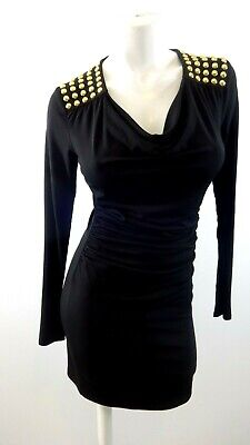 Micheal Kors Womens Black Polyester Blend Dress With Gold Beaded Shoulders Sz Xs