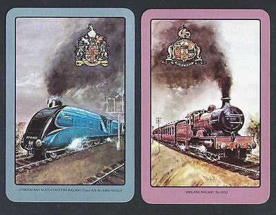 #150.455 vintage swap card -EXC/NEAR MINT pair- ENN, Midland & London Trains