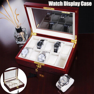 10 Slot Wooden Watch Jewelry Collection Display Glass Case Storage Box Men Gift