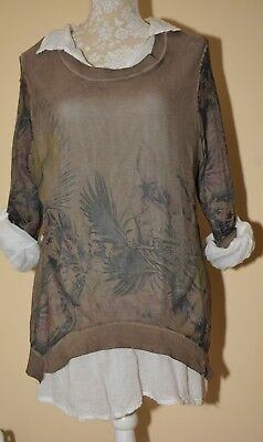 New Ladies Italian Button Back Multi-layered  FLORAL Cotton Shirt Tunic Top Uk16
