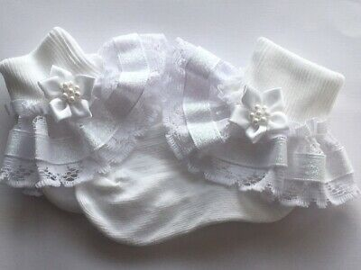 Handmade white sparkly frilly socks baby/girls  wedding christening baby shower