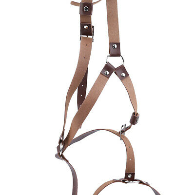 Sexy Female Punk Sculpture Harness Body Suspenders Faux Leather Accessory B