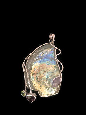 Pendant Women Roman Glass Sterling Silver Ancient Fragments Antique Necklace