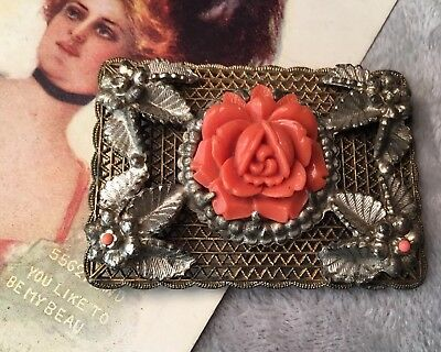 Antique Art Deco 20s carved coral Bakelite Intricate brass ormolu brooch pin