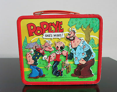 Lunch Box_ Popeye_Vintage Metall_Usa 1980_Alladin Industries_ No Thermos