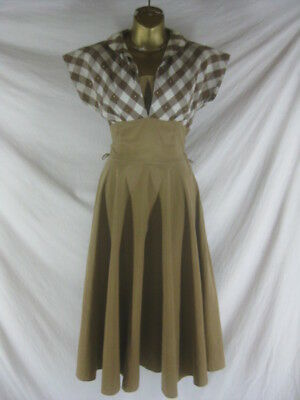 f9a05443f Vtg 40s 50s Brown Plaid Womens Vintage Cotton Full Skirt Party Dress W 25 XS