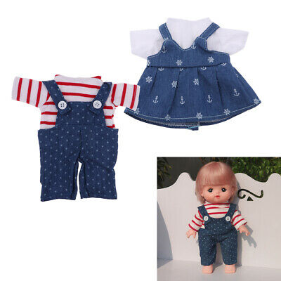 Suspender Skirt Jeans & Short Sleeve for 25cm Mellchan Girl Doll Changing