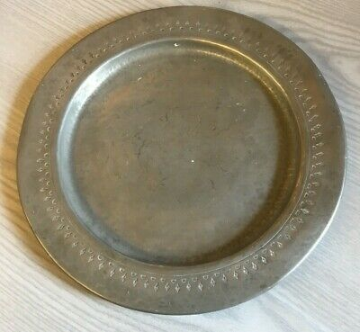 """Antique English Pewter 11"""" Plate  - Stamped Solkeis Made In England (D10)"""