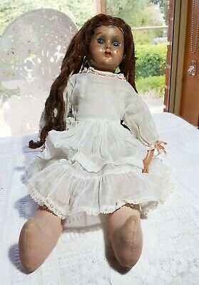 Vintage composition and  cloth doll head marked NZ