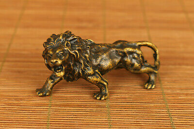 Lion old red copper hand carved leo statue figure netsuke ornament gift