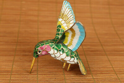 chinese old cloisonne hand painting hummingbird statue figure
