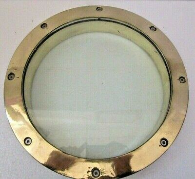VINTAGE ship's BRASS PORT HOLE / Window / Porthole - 10 INCHES GLASS (12)