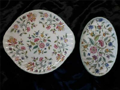 Minton Haddon Hall Green Rim   Cake  Plate &   smaller oval serving plate