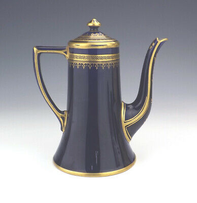 Vintage Crown Staffordshire China - Gilded Cobalt Blue Coffee Pot - Lovely!