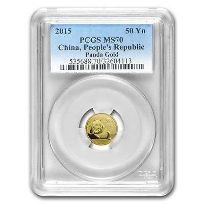 2015 China Panda Gold 50Yn Yuan 1/10 Oz  PCGS MS 70  > KEY DATE! <