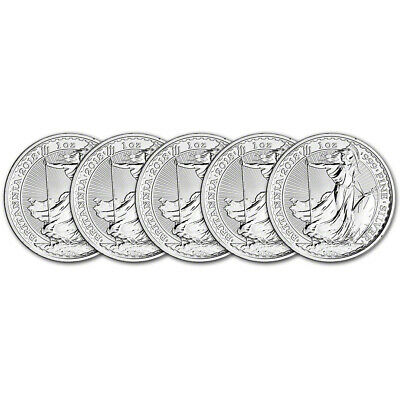2018 Great Britain Silver Britannia £2 - 1 oz - BU - Five 5 Coins