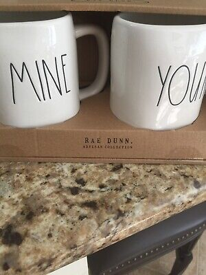 """NEW Rae Dunn """"MINE & YOURS"""" Coffee Mug Cup Set Large Letter by Magenta!!"""