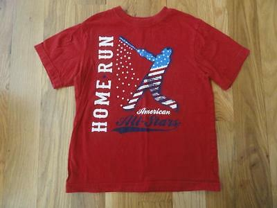 THE CHILDRENS PLACE RED ALL STAR HOME RUN BASEBALL SHIRT SMALL 5 6 EUC JULY 4th