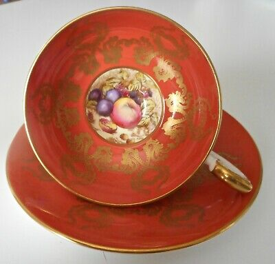 Vintage Aynsey Footed Cup & Saucer with gold filigree and fruit on bottom of cup