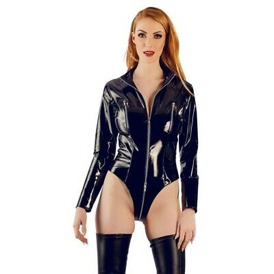Black Level body in vernice con maniche lunghe catsuit chemise badydoll miniabit