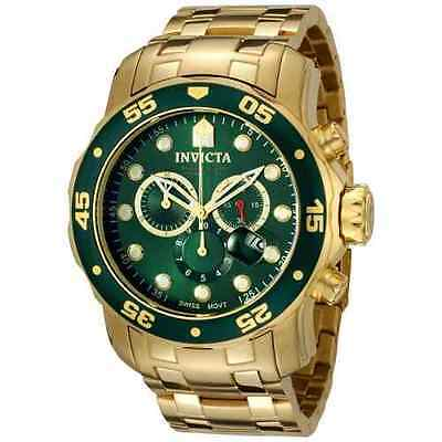 Invicta 21925 Mens Pro Diver Scuba 18kt Gold Plated Steel Chronograph Green Watc
