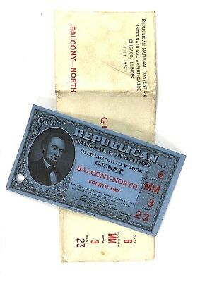1952 Republican National Convention Guest Ticket with Original Envelope Chicago