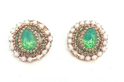 Green & White Sparkly Crystal Beaded Round Stud Earrings