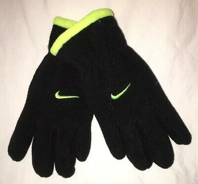 Nike NWT Youth Boys Fleece Gloves One Size fits most 8-20 Black /Yellow