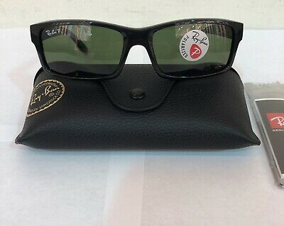 b1b15265c8 RB Ray Ban Sunglasses Polarized RB4151 Shiny Black 59mm Rectangular  Authentic