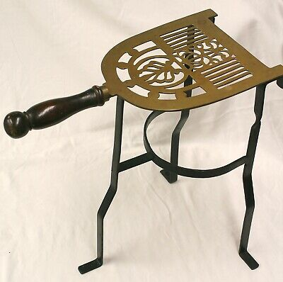 "Vintage Brass & Iron Hearth Fireplace Trivet stand table Wood Handle 13.75"" Tall"