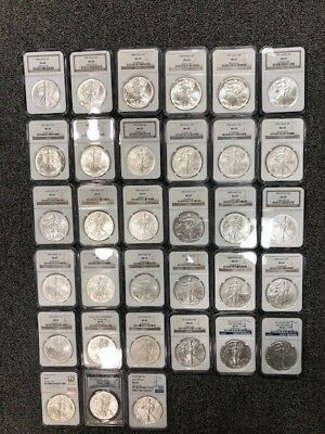 Complete Set of 1986-2018 American Silver Eagle Set Certified NGC/PCGS MS 69