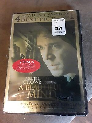 A Beautiful Mind (DVD, 2002, Two Disc Award Edition Widescreen) NEW in pacakge