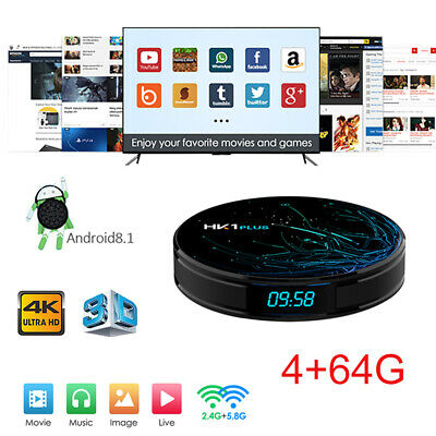 2019 DDR4 4+64G HK1 Plus Android 8.1 S905X2 Quad Core Smart TV Box WIFI 4K H.265