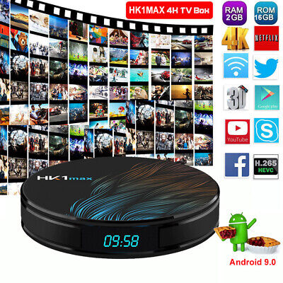 HK1max Android 9.0 Pie 2+16G Smart TV BOX Quad Core 4K Media MINI PC USB 3.0 3D