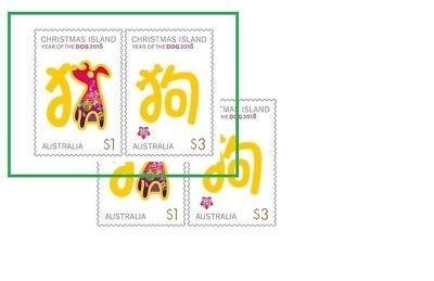 > 2018 YEAR OF THE DOG, 2 SHEET FRANKED ON PAPER Australian Stamps