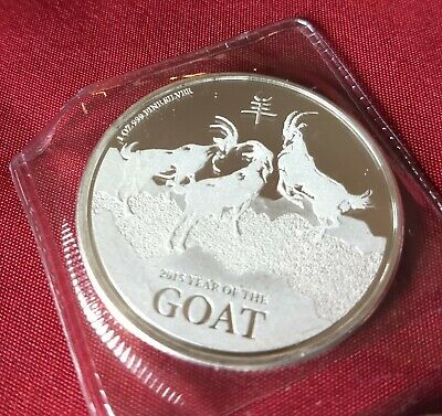 2015 Year Of The Goat Niue Collectible Coin 1 Troy Oz 999 Fine Silver Round (BU)