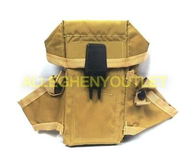 Military Style Army Tan Small Arms Ammo Pouch Case 3 Mag Magazines EXC