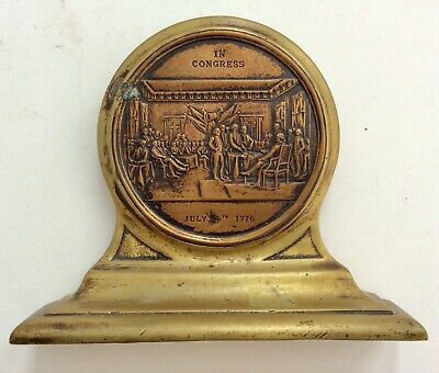 USA antique and rare Brass bookend Declaration of Independence 14 July 1776