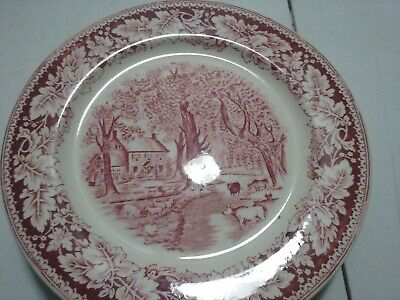 """6 10"""" plates Currier & Ives Prints Home Sweet Home Homer Laughlin USA"""