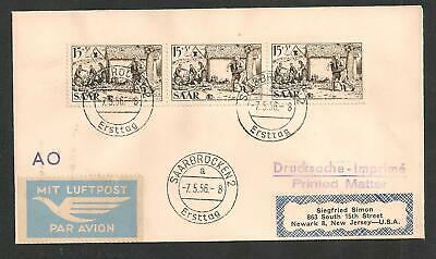 SAAR Sc.108 x 3 FDC on Airmail Cover to US 1956 - Printed Matter