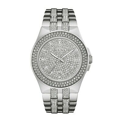 Bulova Men's Crystal Accents Pave Dial Silver-Tone Bracelet 42mm Watch 96B235