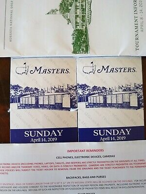 Two 2019 Masters Tickets SUNDAY Final Round