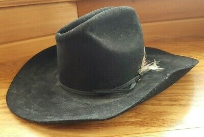 63224d1e180 Eddy Bros Black Cowboy Hat XX Fur Blend Wool Designed by Chris Eddy Size 7 1